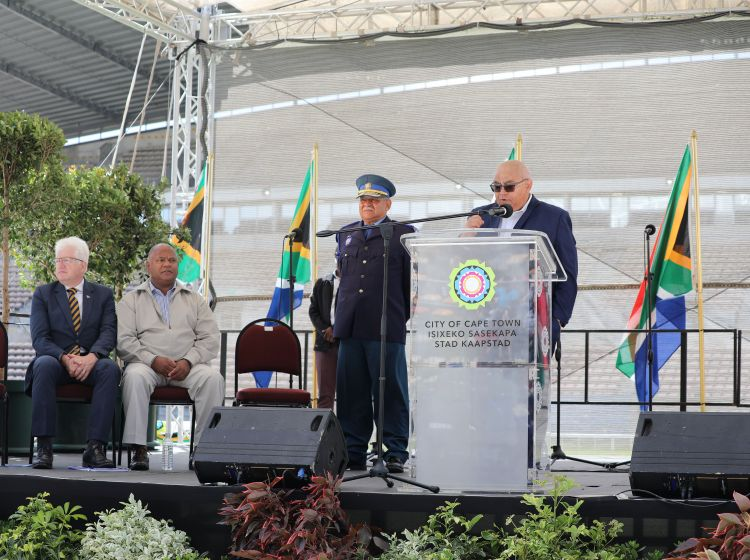 From left: Allan Windé, Premier of the Western Cape Government, Dan Plato, Mayor of the City of Cape Town, Shaun Smith Deputy Chief Law Enforcement, City of Cape Town, and Albert Fritz, Minister of Community Safety delivering a keynote address at the passing out ceremony on 09 February 2020 at Athlone Stadium.