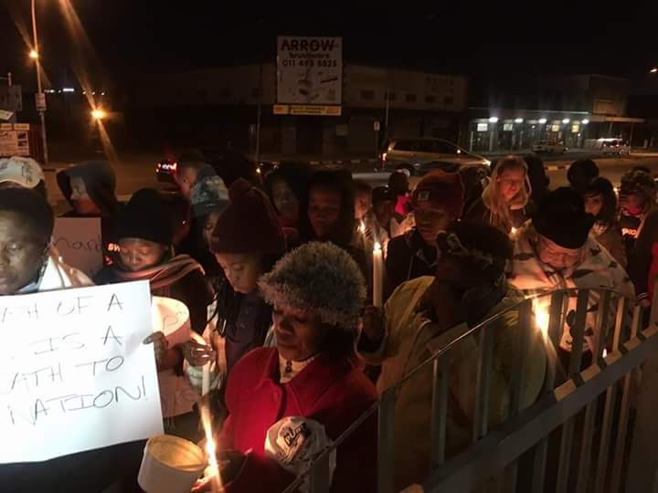 Night vigil at Booysen police station with the Soweto Women's Forum.