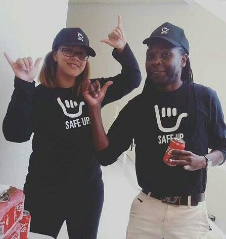 SAVI researchers, Lauren October and Azwi Netshikulwe, helping out at the Safe-Up UCT launch on the 11th of April 2017.